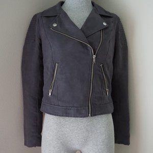H&M Blue Suede Biker Jacket